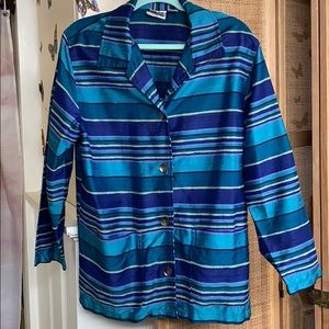 CHICOS 100% SILK Jacket jewel tone stripes